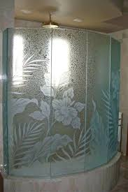 etched glass panels decorative etched glass shower enclosure panels etched and carved with hibiscus flowers ferns