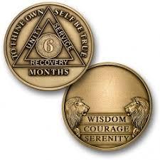 6 month aa antique bronze engravable 1½ challenge coin size