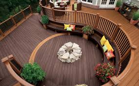 images of how to build a fire pit on top of wooden deck