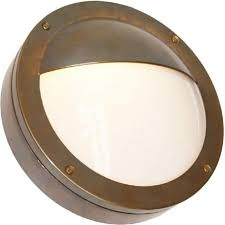 begawan circular flush fitting ip54 outdoor wall light antique brass