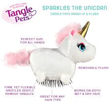 gift tangle pets brush in a plush sprinkles the unicorn as seen on tv