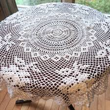 vintage 34 crocheted tablecloth white doily small round tablecl