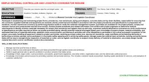 Logistics Coordinator Cover Letter Material Controller And Logistics Coordinator Cover Letter Resume
