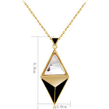 gold plated stitching diamond shaped crystal pendant necklace gold