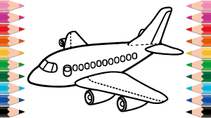 airplane drawing for kids.  Drawing How To Draw Airplane For Kids Drawing And Coloring Pages Baby Kid  Toddlers Throughout For