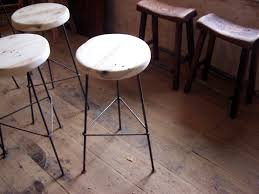 metal bar stools with wood seat. Round Black Metal Bar Stool With White Wood Seat And Three Legs Also Triangle Footrest Stools