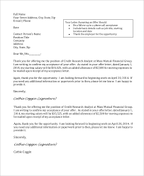 acceptance of job offer letter sample job offer acceptance letter 8 examples in word pdf