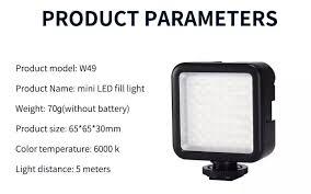 MAMEN Đèn LED Quay Video Chụp Ảnh W49 Mini 49 Trên Máy Ảnh Đèn Chiếu Sáng  Cho Youtube Đèn Chiếu Sáng Điều Chỉnh Độ Sáng Trực Tiếp Trang Điểm Phòng  Thu Dành