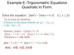 example 6 trigonometric equations quadratic in form