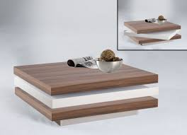 helen square swivel coffee table in white and walnut wood finish