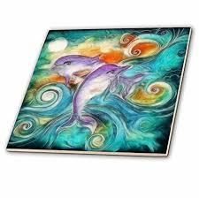 ceramic tiles art ocean. Delighful Ceramic 3dRose Ct_116230_4 Cute Happy Purple Dolphins Swimming In The Ocean Digital  Animal Nature Art Ceramic Tile Intended Tiles O