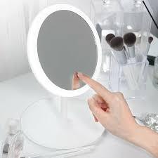 Gương soi để bàn hình tròn có thể gấp gọn có đèn led chiếu sáng xài cổng  USB siêu tiện lợi