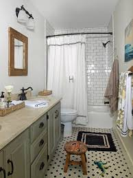 alluring bathroom design ideas cottages and vintage bathroom look hexagon tile floor and subway tile with dark