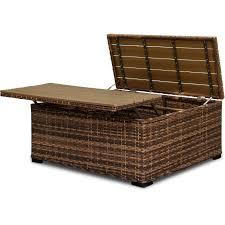 wicker patio cocktail table with