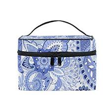 cosmetic bags abstract india blue fl pu leather makeup organizer for women s
