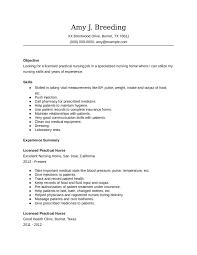 Licensed Practical Nurse Resume Examples Nursing Sample Skills