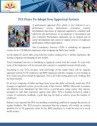 Microsoft Performance Reviews Tcs New Appraisal System