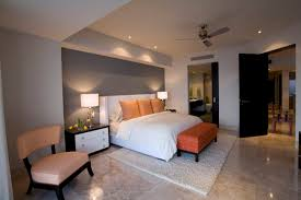 Perfect Bedroom Decorating Ideas With Nice Track Lighting And Soft Grey  Accent Wall Color