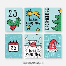 Cute Collection Of Christmas Postcards Vector Free Download