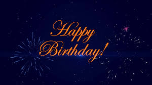 Happy Birthday Background Images Footage Happy Birthday With A Fireworks On The Dark Blue Background