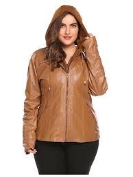 women plus size hooded long sleeve faux leather jacket hfon com