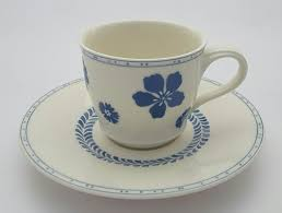 farmhouse touch blue flowers coffee cup 24cl saucer