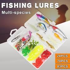 83Pcs Soft Hard <b>Fishing</b> Lures Small Minnow Lure Bass Crank Bait ...