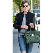 chicago p d sophia bush cotton jacket with leather sleeves