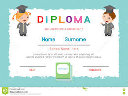 certificates kindergarten and elementary preschool kids diploma  certificates kindergarten and elementary preschool kids diploma certificate background design template diploma template for kind
