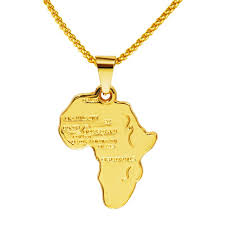 whole good quality 18k gold plated africa map pendant necklace for women men fashion african map necklace hip hop jewelry 29 5in bling letter pendant
