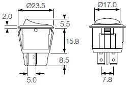 round rocker switches r13 series and r92 series indicator bulgin R13 135 Switch Wiring Diagram 244 double pole round snap fit to panel mount Old Massey Ferguson Wiring Diagrams