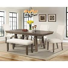 picket house furnishings dex dining set table 4 upholstered side chairs bench rustic