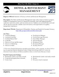 Resume For Hospitality Management Cover Letter Hospitality