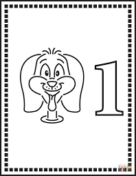 Small Picture Number 1 Or One Dog coloring page Free Printable Coloring Pages