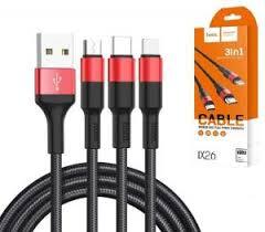 USB <b>кабель HOCO X26</b> Xpress <b>3</b> в <b>1</b> (Micro / Lightning / Type-C) 2A ...