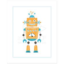 cute robot print nursery wall art with fun retro robot in blue and orange on robot nursery wall art with robot nursery art print cute retro robot in orange and blue