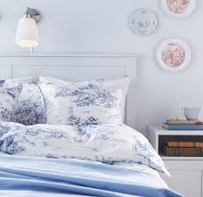 ikea emmie land queen duvet cover pillowcases set blue white toile french design double full on the hunt