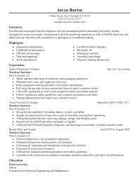 Cnc Operator Resume Sample