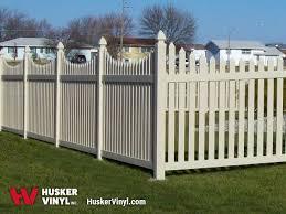 Scalloped vinyl picket fence Fence Panel Courtyard Vinyl Fence Husker Vinyl Buy Vinyl Picket Fence Online Husker Vinyl Inc
