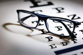 a pair of eyegles on an eye chart