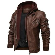 <b>Mens Hooded Leather Jacket</b> Large for sale | eBay