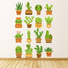 Happy Cactus Desert Plant Wall Sticker Set