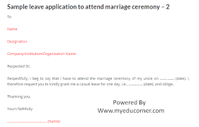 Casual Leave Application Mesmerizing Sample Leave Letter Request For Leave To Attend Cousin's Marriage