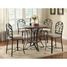 acme furniture kiele antique black and oak finish metal counter height chair set of