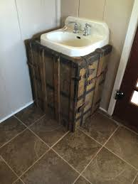 The Project Lady Fake Wood Cabinet To Hide Ugly Pipes Under Sink - Plumbing bathroom sink