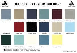 Vf Commodore Colours Chart 56 Faithful Holden Colour Chart 2019