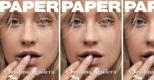 christina aguilera goes makeup free for paper magazine