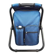 backpack chair portable camping stool foldable chair with double layer oxford fabric cooler bag for fishing