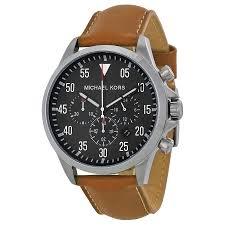 michael kors gage chronograph black dial tan leather mens watch michael kors · zoom