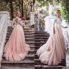 2017 newest blush pink country wedding dresses with sleeves deep v